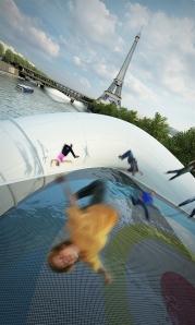 puente camas elásticas encima del río Sena en París