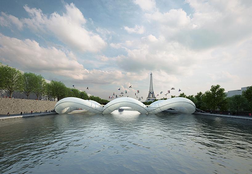puente cama elásica encima del río sena